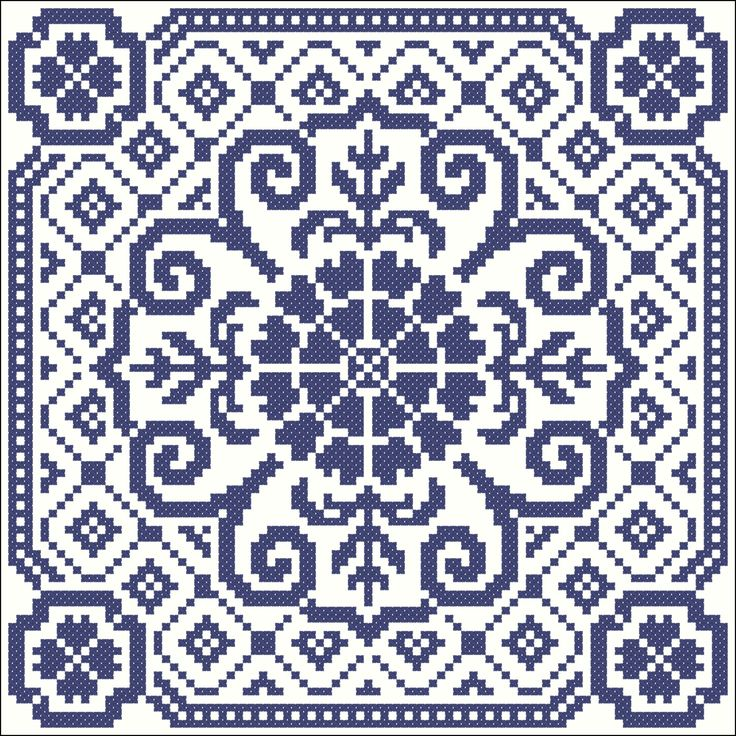 Big blue tile | Chart for cross stitch or filet crochet.