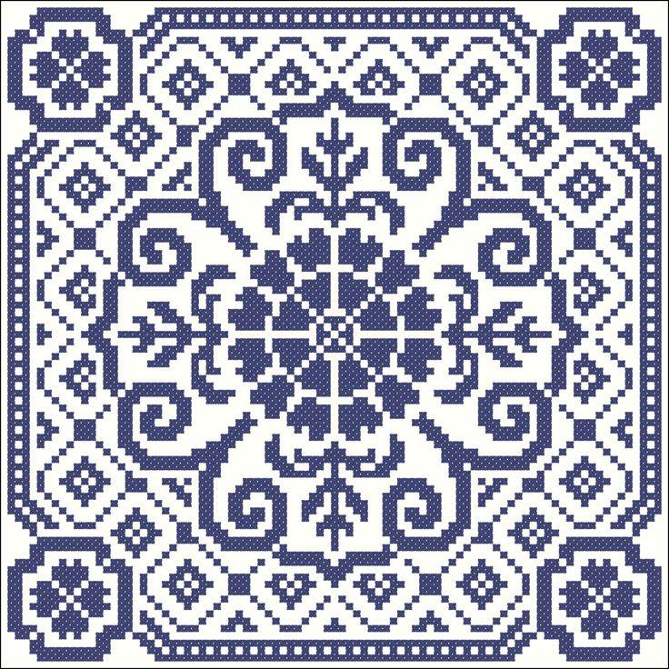 Big blue tile   Chart for cross stitch or filet crochet.