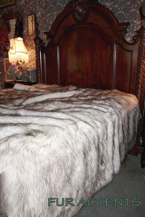 Brown Tip Coyote Plush Faux Fur Bedspread Comforter Wolf Throw Blanket