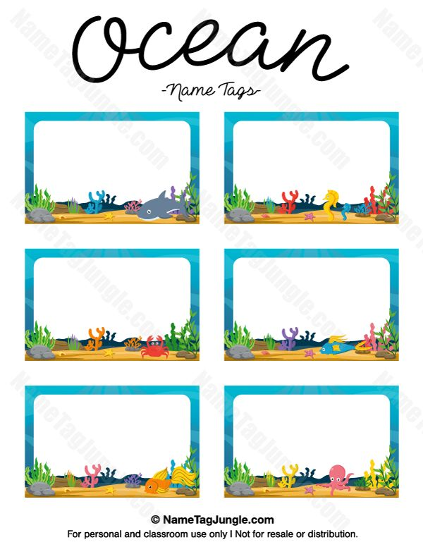 Free printable ocean name tags. The template can also be used for creating items like labels and place cards. Download the PDF at http://nametagjungle.com/name-tag/ocean/