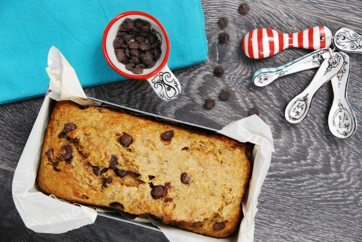 """Chocolate Chip Banana Bread: A simple and healthy """"treat"""" recipe, it's is dairy-free, contains no refined sugar, and is made with 100% whole grain flour."""