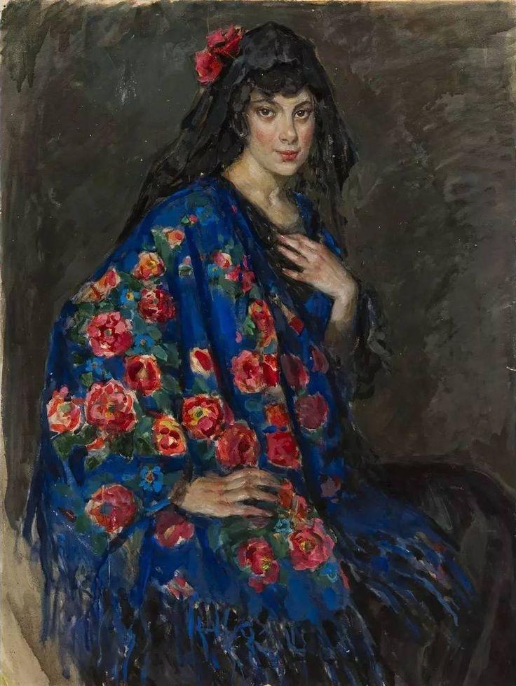 Портрет неизвестной в шали Елена Андреевна Киселева