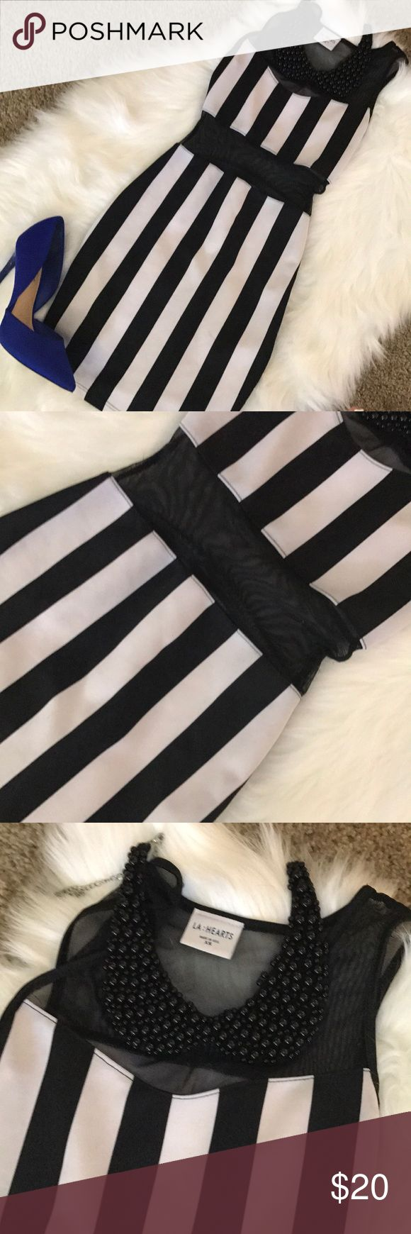 LA:Hearts fitted bodycon black and white dress LA:Hearts fitted bodycon black and white dress! See through top and stomach area in great condition for a fun night out! La Hearts Dresses Mini