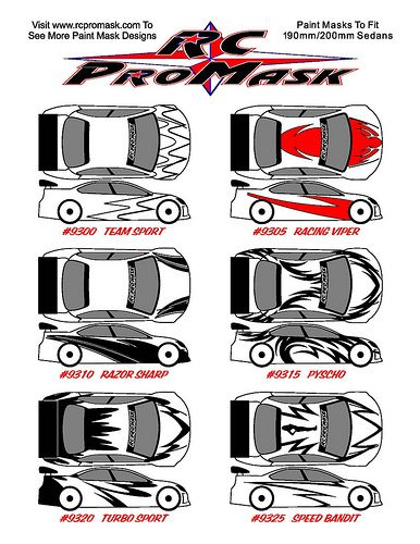 RC PROMASK COMPLETE PAINT MASK DESIGNS, BACKGROUND FX, CHARACTERS, DECALS, ACCESSORIES, AND PAINTING SERVICES TO CUSTOMIZE YOUR RC CAR/TRUCK: