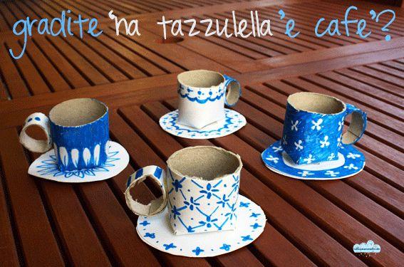 Le tazzine di caffè (si gioca riciclando il cartone!)  Cardboard cups!