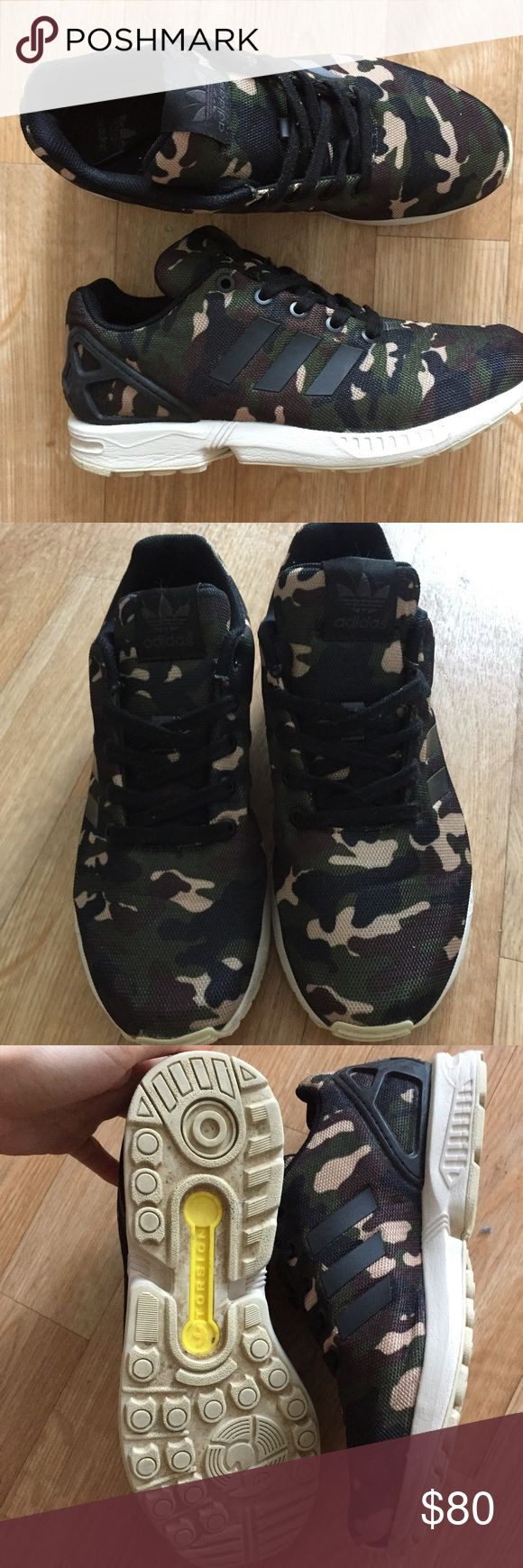 Rare camo Adidas ✨ Camo ZX Flux adidas women's size 8 or youth 6 1/2. I love these but adidas run large so they're too big for me ☹️ only worn a few times and just washed. Adidas Shoes Sneakers
