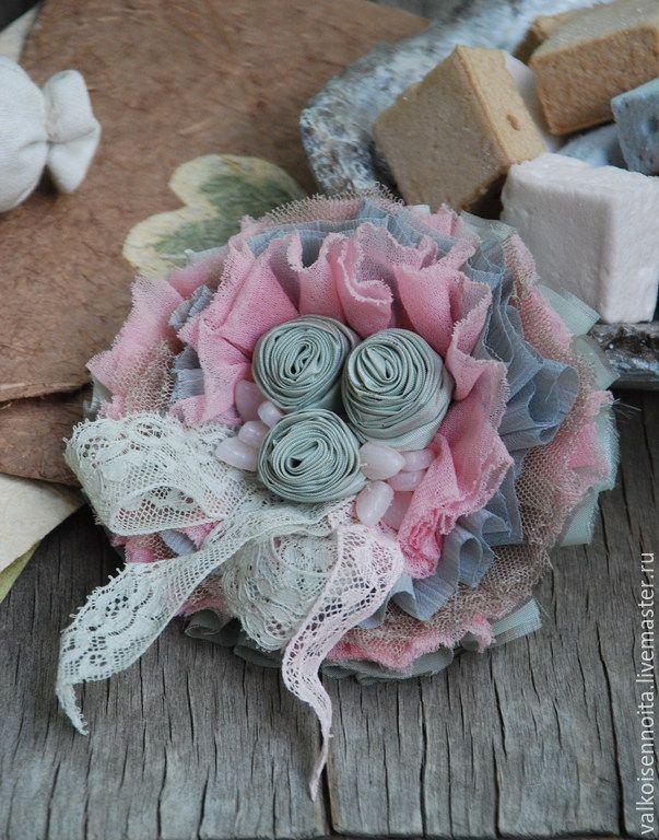 """Купить Брошь """" Marshmallow"""" - брошь, брошь в стиле бохо, текстильная брошь, бохо-брошь"""