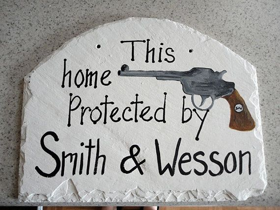Gun sign man cave Fathers day Smith & Wesson NRA Rifle by kpdreams