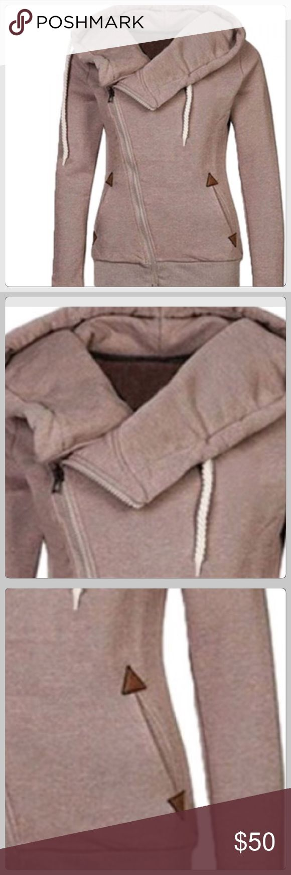 JUST IN! Slant Zipper Khaki Tan Hoodie Sweatshirt This is a nice thick sweatshirt with some pizazz to it! The sipping is a slanted on! The pockets are decorative! It is very cozy and warm! I love this one! Bust 38 Boutique Tops Sweatshirts & Hoodies