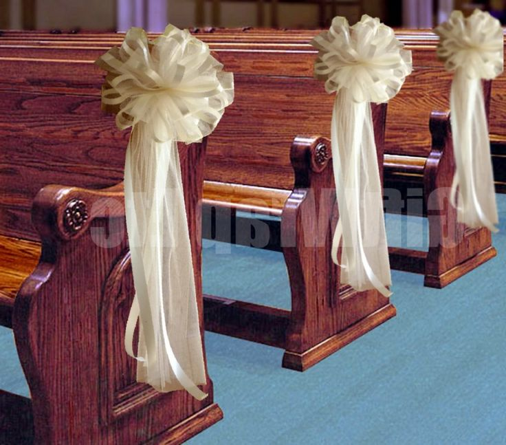 1000 ideas about church pew wedding on pinterest pew - Bow decorations for weddings ...