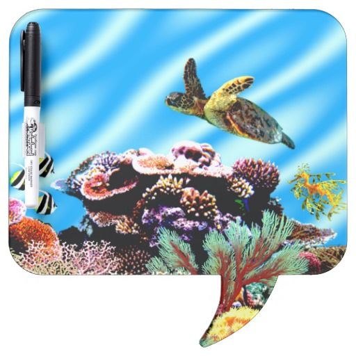 Coral Reef Sea Life Speech Bubble Dry Erase Board Dry-Erase Whiteboard - This dry erase board features a coral reef with a turtle, a sea dragon and fish swimming around pristine ocean waters. Available in lots of different shapes and functions. http://www.zazzle.com.au/coral_reef_sea_life_speech_bubble_dry_erase_board_dryeraseboard-256393102371187181?rf=238523064604734277