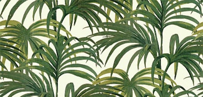 Palmeral Off White/Green (H402-4) - House Of Hackney Wallpapers - An explosion of 70's inspired Palm leaves, creates this stunning design. Shown in the rich green on off white colourway. Please ignore dimensions below – the actual dimensions of this stunning digital wallpaper are: W180cm x H 300cm. The single roll comprises of 4 x 3m lengths, each 45cm wide. Wall coverage per roll is 5.4 m2 Paste the wall product.