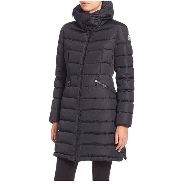 Moncler Flammette Puffer Jacket ($1,300) ❤ liked on Polyvore featuring outerwear, jackets, coats, navy, parkas, navy puffer jacket, moncler, navy parka, parka jacket and navy jacket