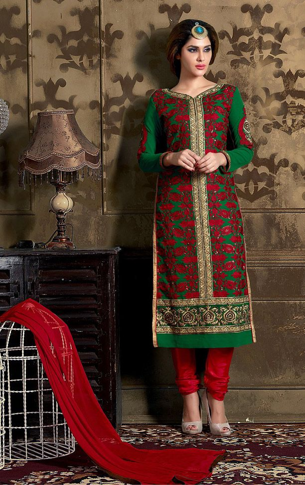 Buy Online Designer Suit or shuits Green and Red Color, Heavy Georgette and Santoon material, Nazneen dupattas, Ceremonial Wear, Partywear, Kitty Partywear for women, Churidar Suits, Churidar suit, shuits for women.. We have large range of Churidar suits in our website with the best pricing and unique designs shipping to (UK, USA, India, Germany, UAE, Canada, Singapore, Australia, Mauritius, New Zealand) world wide.