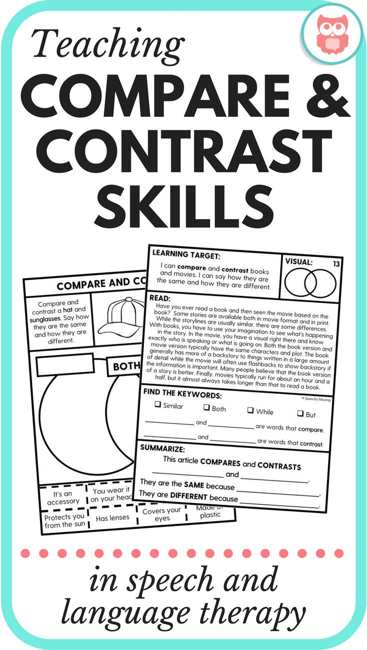 Teaching Compare and Contrast Skills in Speech & Language Therapy