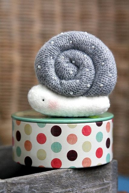 Rolled fabric snail - maybe make with felted wool sweaters