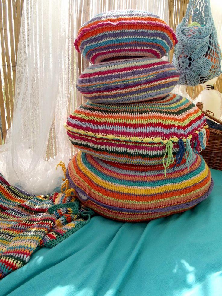 round crochet boho pillows--- stash buster