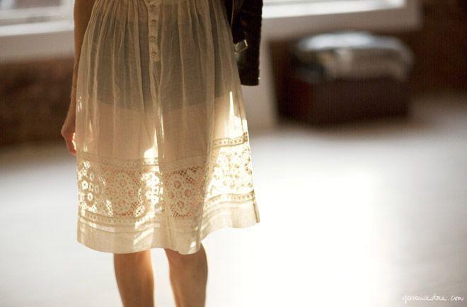 Caroline Ventura, off-white sheer skirt / Garance Doré