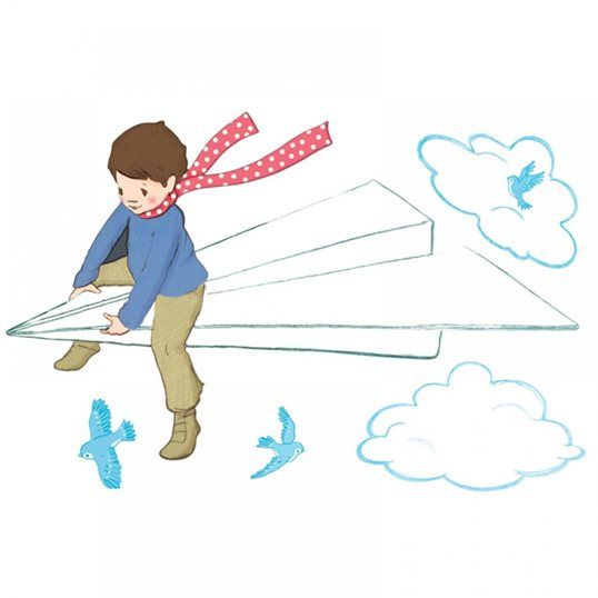 What Alice Found - Paper Plane Wall Sticker / Decal