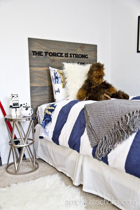 Boy's Industrial/Star Wars Bedroom via @Kristin :: Teal White Garden Bergthold (Simply Klassic) LOVE this!! I want this end table for Reese's room!