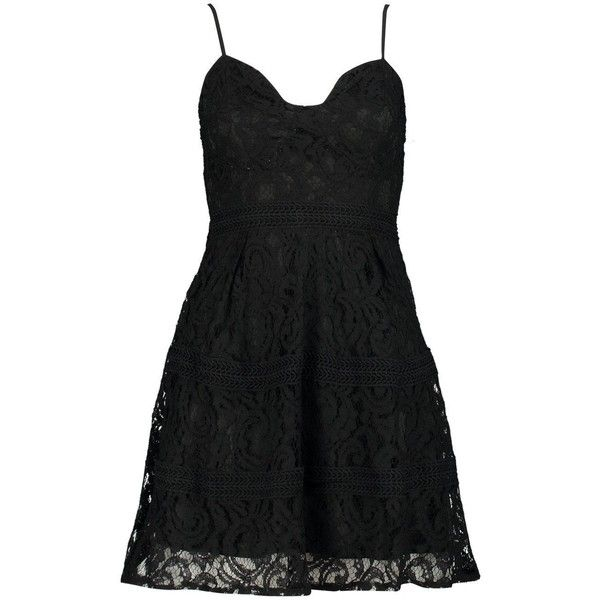 Boohoo Petite Kate Lace Strappy Skater Dress ($28) ❤ liked on Polyvore featuring dresses, lace skater dress, lace dress, strap dress, petite cocktail dress and petite skater dress