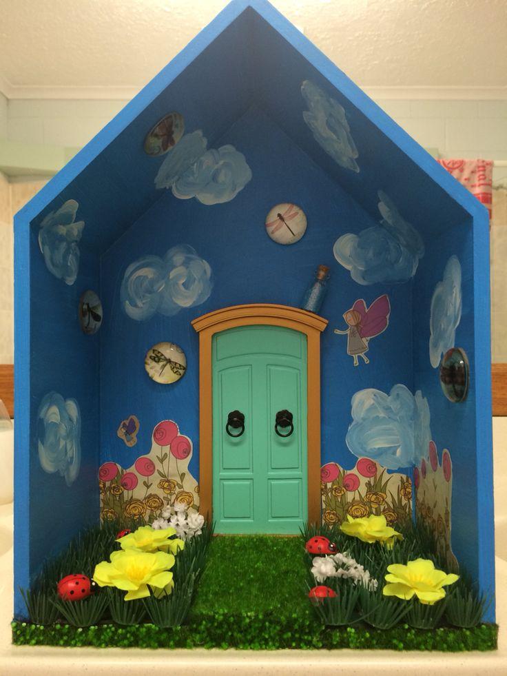 Kmart shadow box made into a fairy world shadow box for Fairy door kmart