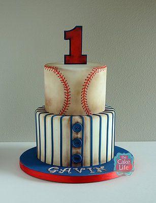 Baseball first birthday cake