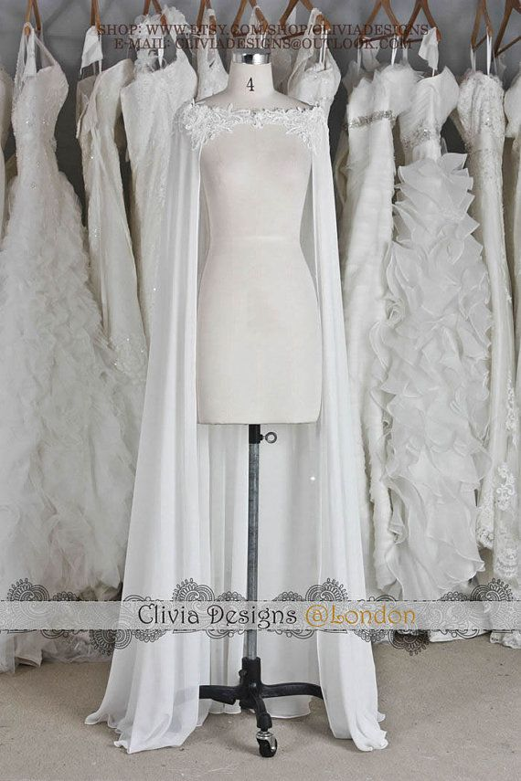 Beaed Lace Chiffon Floor-length Wedding Cape, Wedding Bolero, Wedding Wrap,Wedding Shrug, Wedding Jacket J502  The chiffon can be 100% silk chiffon