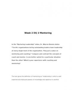 MGT460  MGT 460  Week 2 DQ 2 Mentoring --> http://www.scribd.com/doc/129219774/MGT460-MGT-460-Week-2-DQ-2-Mentoring