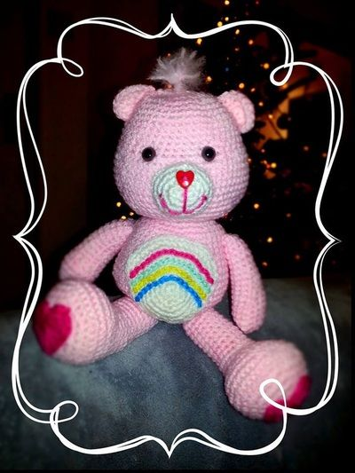 Our pretty crochet Carebear, Love!! Gallery - Thing-a-ma-bobs