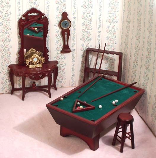 dollhouse miniature billiard room   Click on pictures for alarger view....items listed left to right
