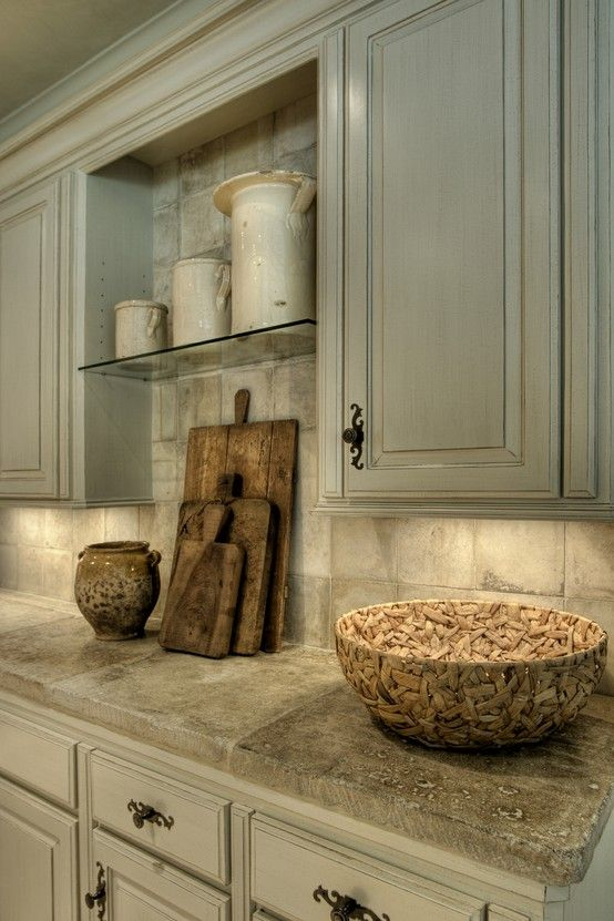 colors, decor, kitchen, trim, whitewashed oil rubbed cabinets, tumbled travertine tile backsplash, drawer pulls, hardware, cutting board