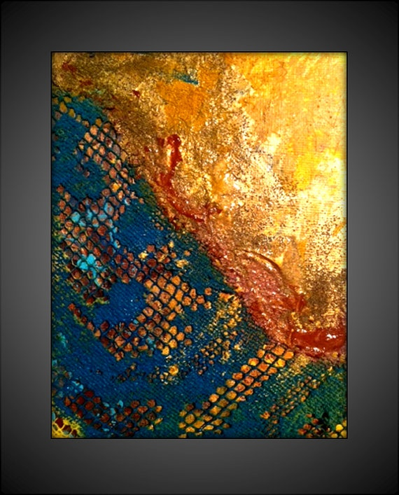 Original Textured Acrylic Abstract Contemporary/Modern Painting- 5x7 - Gold,Blue, Gold, Orange and more