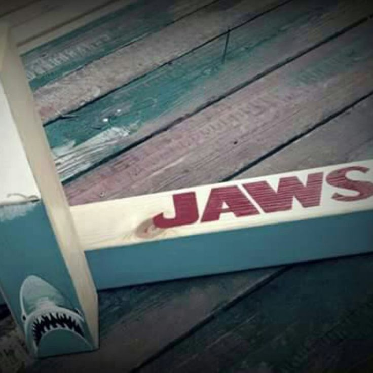 Beware the Jaws! Handcrafted wooden table lamp