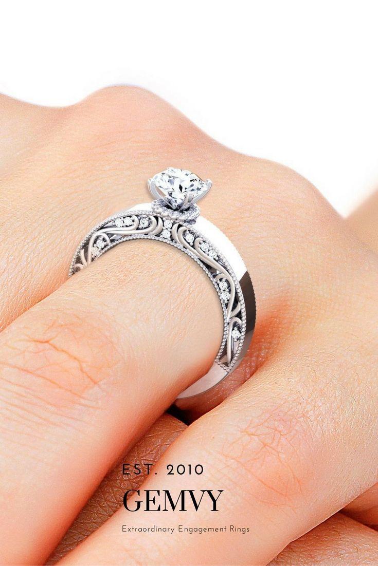 Filigree vintage DIAMOND ENGAGEMENT RING.