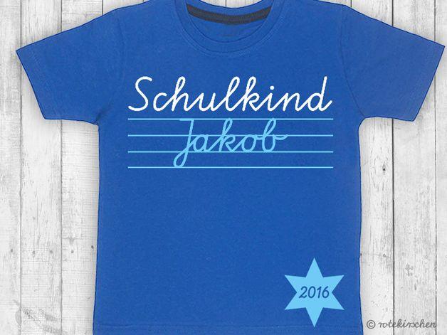 T-Shirts - T-Shirt Einschulung *SCHULKIND* mit Namen - ein Designerstück von rotekirschen bei DaWanda