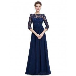Temně modré společenské šaty s krajkou a rukávy