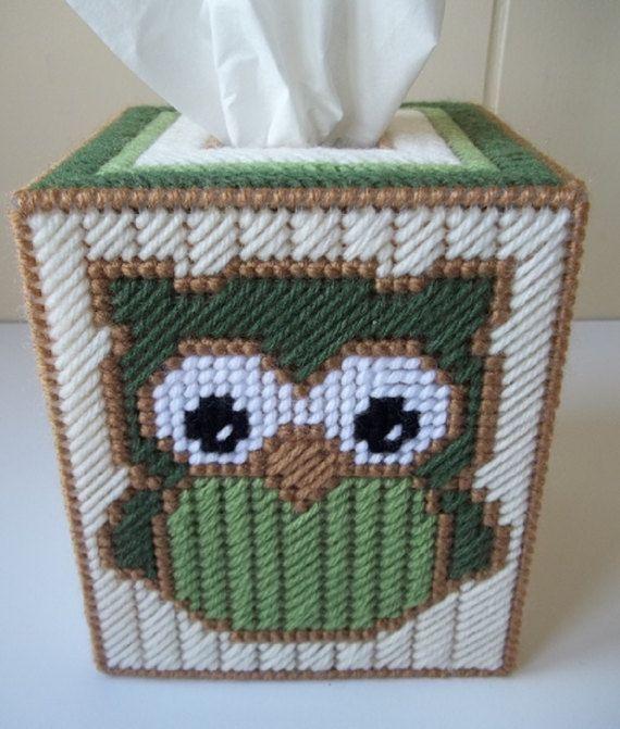 Owl Tissue Box Cover Plastic Canvas Tissue by KarensCrochetCottage