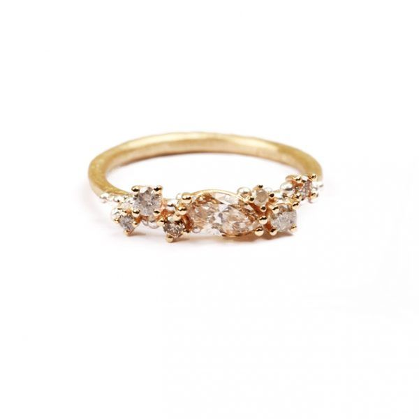 Anello in oro e argento con diamanti ghiacciati silver e brown (1)