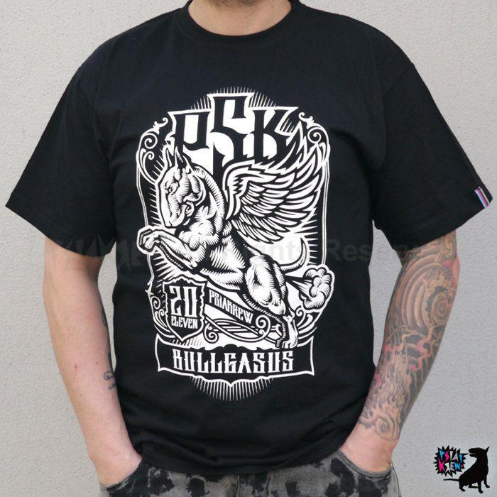 Bull Terrier Bullgasus hand print T-shirt by PSIAKREW on Etsy