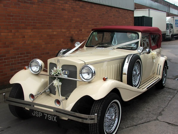 The Burgundy Beauford Wedding Car Is Available To Hire For Weddings In Manchester And North West Light Cream With A Coloured Convertible Roof