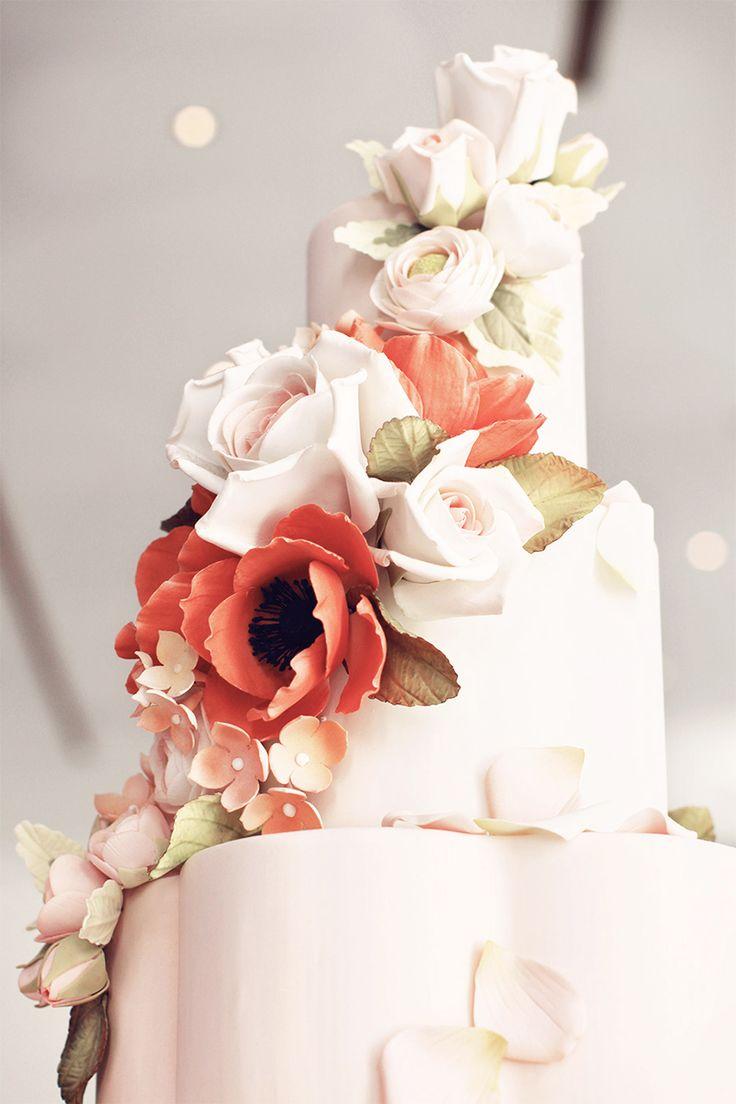Beautiful wedding cake in Bottega Louie bakery & café at Downtown LA.
