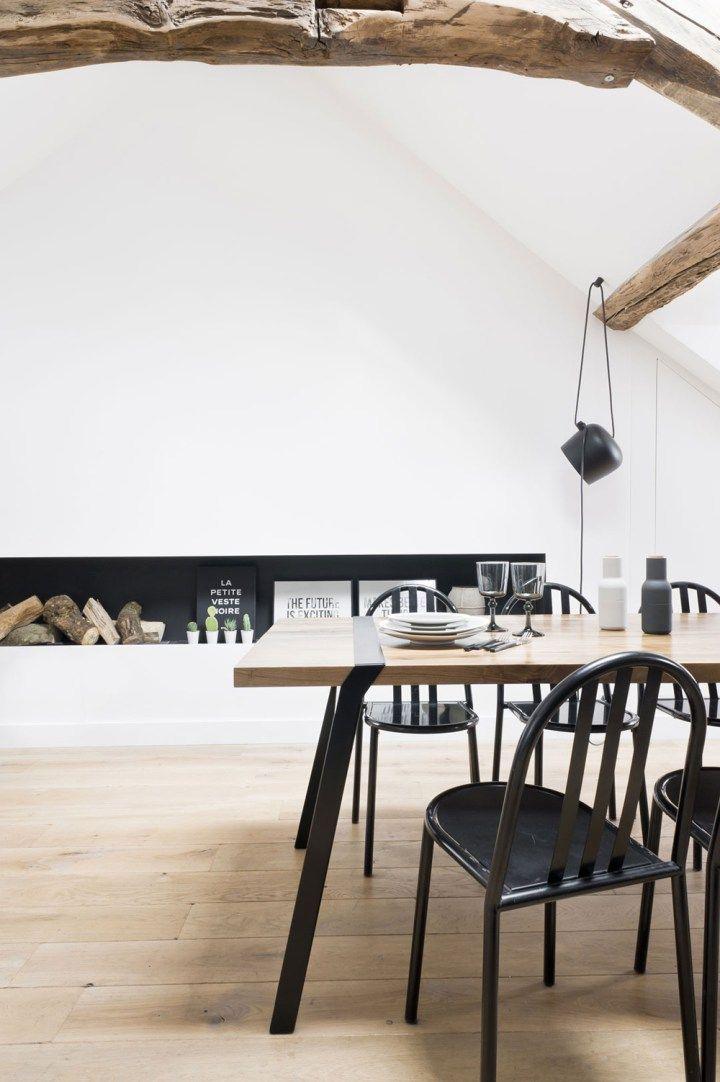 vigas en el techo estilo rústico moderno estilo nórdico escandinavo decoración espacios pequeños decoracion diseño interiores decoración áticos cocinas negras nordicas blog decoración nórdica