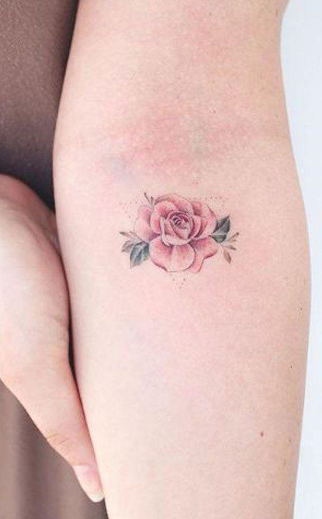 e4249a945 Watercolor Cute Small Rose Flower Forearm Tattoo ideas for Women - Acuarela  Ideas de tatuaje de antebrazo Rosa pequeña linda para mujeres - www.