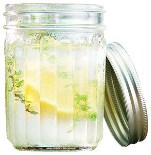 Glass Ribbed Mason Jar Drinking Glasses - Rustic - Cups And Glassware - by Classic Hostess