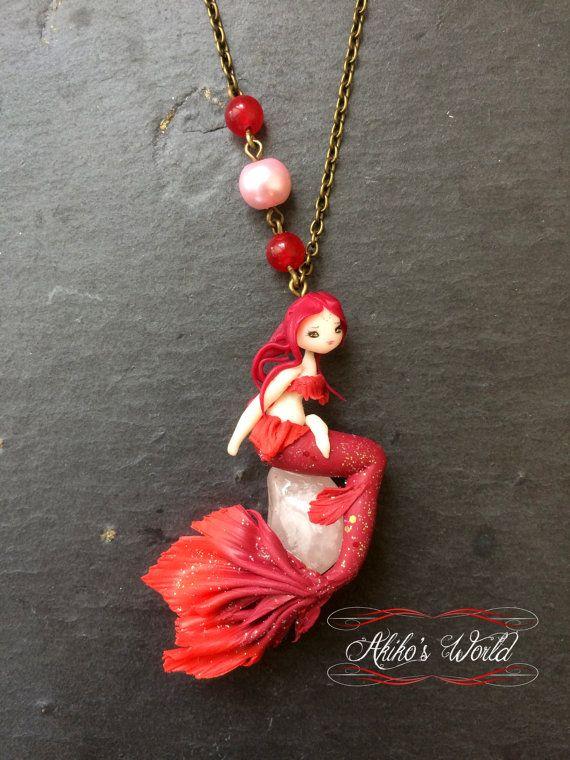 Ketting rode sirene op zijn Rozenkwarts - uniek stuk - Chibi in polymeerklei / fimo - sieraden / fairy
