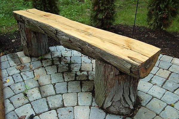 Rustic garden bench.  I like this! Very cute and wouldn't cost much. I would sand the top to make sure it was splinter free.
