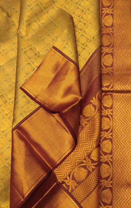 Golden Handloom Kanjeevaram Pure Silk Saree#kanjeevaram#puresilk#saree# 2