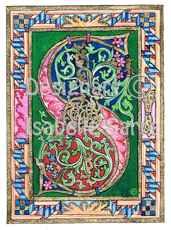 Check out this item in my Etsy shop https://www.etsy.com/uk/listing/264409248/illumination-letter-s-art-print-tempera