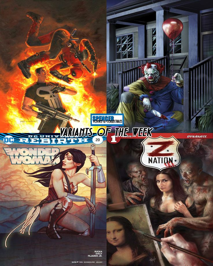 Our favorite variant comic book covers releasing 04/12 for new comic book day. Deadpool vs Punisher #1 by Greg Hildebrandt, Grimm Tales of Terror #4 by Antonio Bifulco, Wonder Woman #20 by Jenny Frison, and Z Nation #1 by Lucio Parrillo. #ncbd #comicbookart